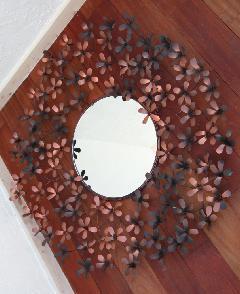 アイアン 壁掛けミラー/鏡 (ハコベの花)