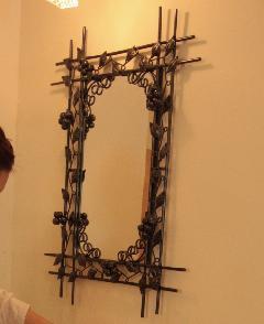 アイアン ウォールミラー/鏡 (ブドウの木)