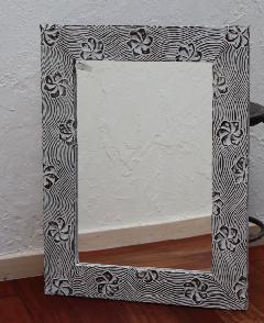木製 壁掛けミラー/鏡 (プルメリア彫りデザイン)