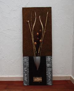 インテリアアート(アートパネル、アート絵画、ハンドメイド) キエダミ黄土SLV