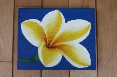 プルメリア(アートパネル、アート絵画、ハンドメイド) ブルー