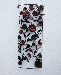 アイアンウォールデコ(壁掛け飾り、アート)バードフラワー01