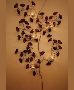 アイアン 壁掛けキャンドルホルダー(イチョウの葉)
