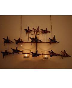 アイアン 壁掛けキャンドルホルダー(12羽のハチドリたち)【アジアン雑貨】【バリ雑貨】