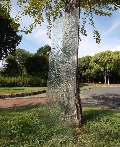 うずまき柄のガラス板 (透明)