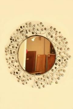 アイアン 壁掛けミラー/鏡 (スパークリング)シルバーグレー