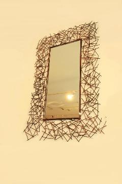 アイアン 壁掛けミラー/鏡 (小枝)