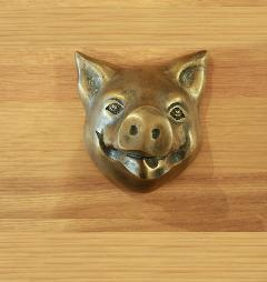 真鍮 ドア/壁飾り・化粧金物パーツ【ブタの顔(小)】/SDKAF016