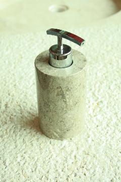 天然石(大理石)洗剤ディスペンサーボトル ベージュグレー系Sサイズ