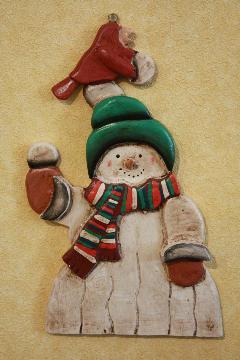 壁掛け 雪だるま 緑帽子 木製