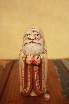 木製置物 お祈りをするサンタ 白