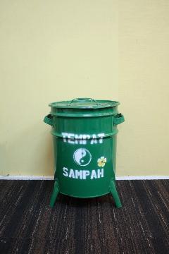 ドラム缶ゴミ箱/ダストボックス緑(小)