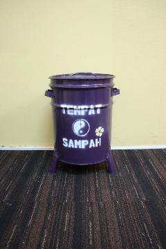 ドラム缶ゴミ箱/ダストボックス紫(小)