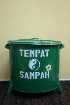 ドラム缶ゴミ箱/ダストボックス緑(特大)