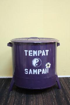 ドラム缶ゴミ箱/ダストボックス紫(大)