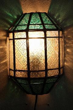 アイアン&ガラス ウォールランプシェード(壁掛け照明/ブラケットライト)MAグリーン01