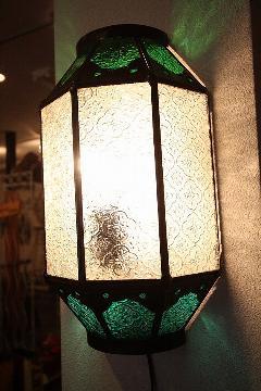 アイアン&ガラス ウォールランプシェード(壁掛け照明/ブラケットライト)MAグリーン上下2色02