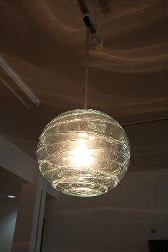 ガラス・ペンダントランプシェード(吊り下げ照明)クリア 大 引掛けシーリングソケットコード付き