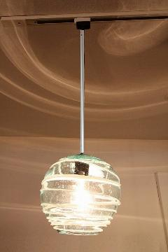 ガラス・ペンダントランプシェード(吊り下げ照明)白ボーダー 小 引掛けシーリングソケットコード付き
