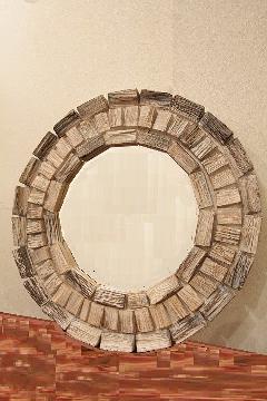 木製 壁掛けミラー/鏡 (丸・木片)