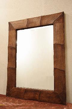 木製 壁掛けミラー/鏡 (茶・波)