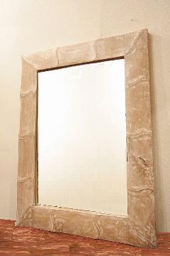 木製 壁掛けミラー/鏡 (白・波)