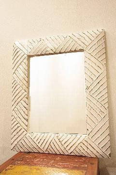 木製 壁掛けミラー/鏡 (白・金)