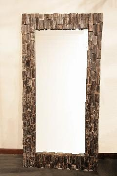 木製 壁掛けミラー/鏡 (大・木片)