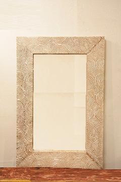 木製 壁掛けミラー/鏡 (うずまき)
