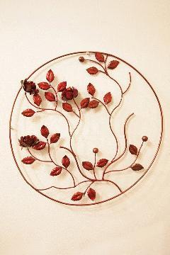 アイアン ウォールデコ(壁掛け飾り・アート)赤丸 バラ