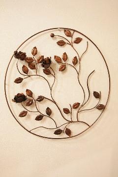 アイアン ウォールデコ(壁掛け飾り・アート)茶丸 バラ
