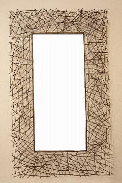 アイアン 壁掛けミラー/鏡 (小枝) �U シルバー