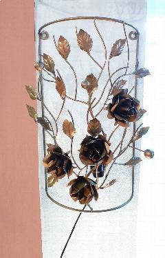 アイアン ウォールランプシェード(壁掛け照明/ブラケットライト)バラ/ブラウン