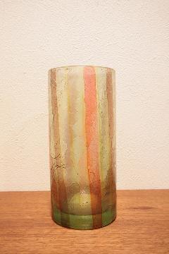 花器 フラワーベース(ガラス) 黄色 縦縞柄