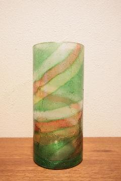 花器 フラワーベース(ガラス) 緑 巻き柄