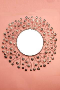アイアン 壁掛けミラー/鏡 (スパークリング)シルバーグレイS