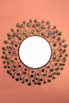 アイアン 壁掛けミラー/鏡 (スパークリング)グリーンS