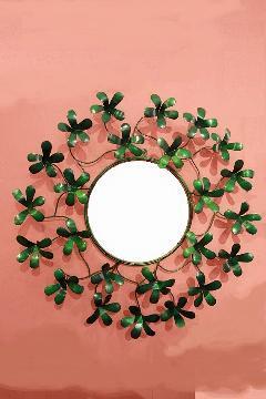 アイアン 壁掛けミラー/鏡 (はこべ緑)