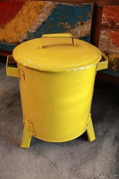 ドラム缶ゴミ箱/ダストボックス黄(ミニ)