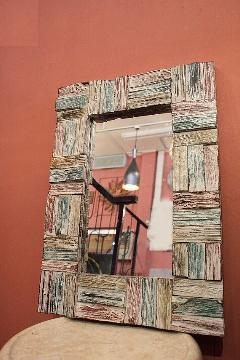 木製 壁掛けミラー /鏡 パステル