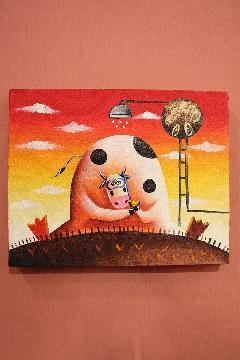 200×250 牛 (アートパネル、アート絵画、ハンドメイド)
