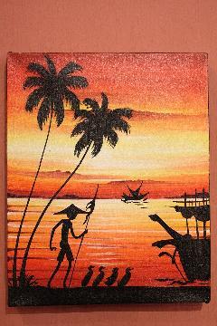 200×250 夕日赤A (アートパネル、アート絵画、ハンドメイド)