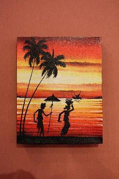 200×250 夕日赤B (アートパネル、アート絵画、ハンドメイド)