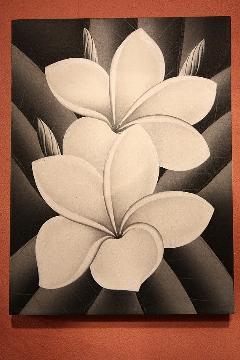 プルメリア2P (アートパネル、アート絵画、ハンドメイド) モノクロ
