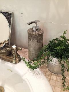 天然石(大理石)洗剤ディスペンサーボトル ベージュグレー系Lサイズ