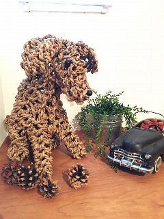 アイアン 雑貨・置物/編み犬オブジェ02-ベージュ/AZODRONA0010 【アジアン雑貨】【バリ雑貨】