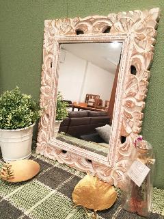 木製 壁掛けミラー ミニ /鏡 ホワイト