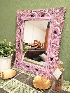木製 壁掛けミラー ミニ /鏡 ラベンダー
