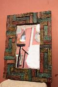 木製 壁掛けミラー/鏡  カラフル