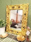 木製 壁掛けミラー  ミニ/鏡 イエロー